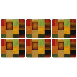 Set of 6 corkbacked placemats with colourful Majestic design by Pablo Esteban