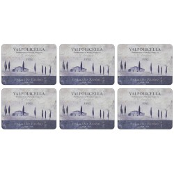 Set of 6 vintage Vino Italiano Valpolicella wine label themed corkbacked placemats