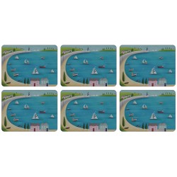 Harbour View set of 6 corkbacked tablemats, traditional British sailing boats pattern