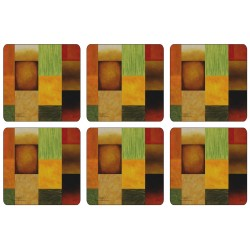 Set of 6 colourful, square corkbacked coasters, the abstract Majestic design by Plymouth
