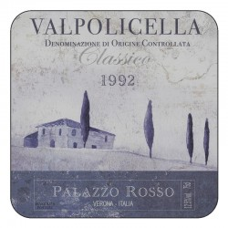 Wine label design of square drinks coasters with corkbacking. Vino Italiano Valpolicella
