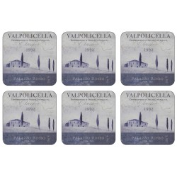 Set of 6 Valpolicella wine label design square corkbacked drinks coasters