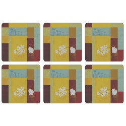 Abstract floral design of square corkbacked coasters with yellow background