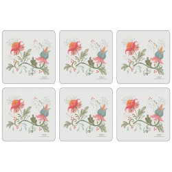 Square floral coasters with Spring design and soft corkbacking