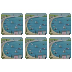 Set of 6 drinks coasters, Harbour View square corkbacked British seaside design