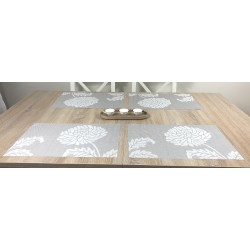 Taupe woven vinyl Fleximats placemats dining table setting