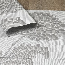 Reverse side of Taupe woven vinyl Fleximats placemats showing detail of Chrysanthemum