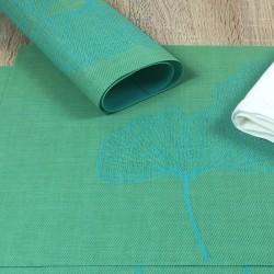 Close up of vibrant green Verdigris woven vinyl tablemats