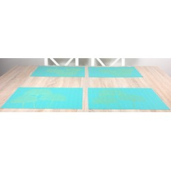 Reverse side Vibrant green Verdigris woven vinyl tablemats all four