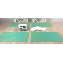 Vibrant green Verdigris woven vinyl tablemats with teapot