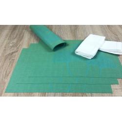 Vibrant green Verdigris woven vinyl tablemats with serviette