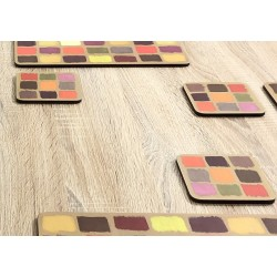 Close up of Harlequin coasters, corkbacked design by Plymouth