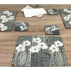 Close up wooden dining table image of White Poppies corkbacked tablemats, traditional design