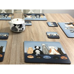 Animal design tablemats of Hungry Cats, corkbacked with hard surface on dining table