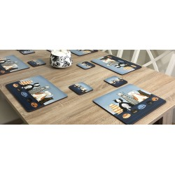 Animal design of Hungry Cats square corkbacked coasters on wooden dining table