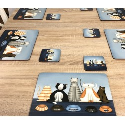 Plymouth Pottery Hungry Cats square corkbacked drinks coasters on dining table