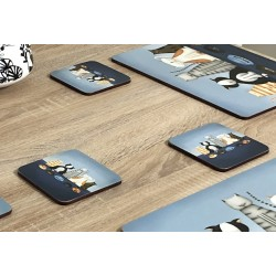 Close up view of animal design of Hungry Cats square corkbacked coasters