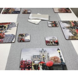 Main view Streets of London corkbacked placemats on grey runner on dining table