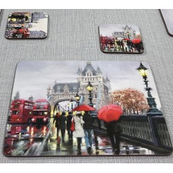 Streets of London corkbacked placemats on grey runner