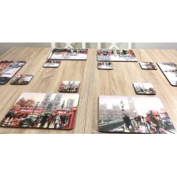 Streets of London corkbacked coasters on wooden dining table