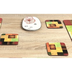 Close up image of colourful square corkbacked drinks coasters, Majestic by Plymouth
