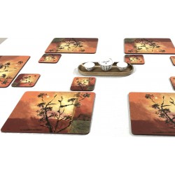 White tablecloth displaying Sunset design drinks coasters. Square with soft cork backing.