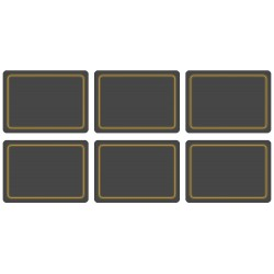 All six, black melamine placemats UK made, corkbacked tabletop protectors