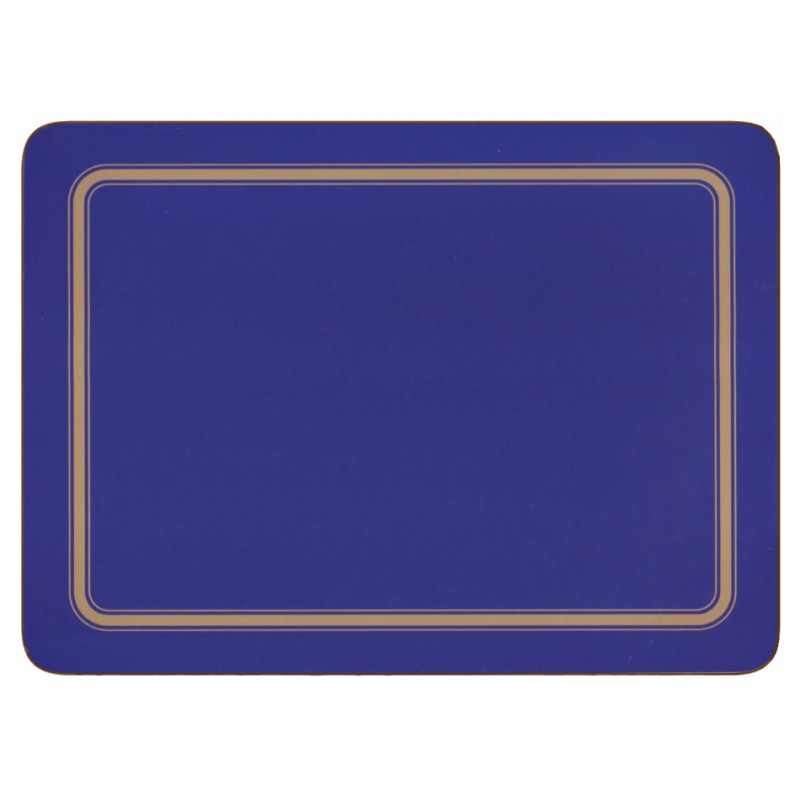 Blue melamine placemats, UK made, corkbacked
