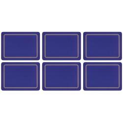 UK made set of 6 blue melamine placemats, corkbacked rectangular shape