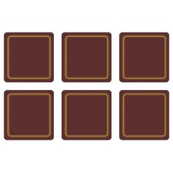 Set of 6 Claret colour melamine coasters corkbacked UK made