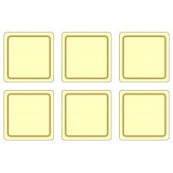 Pack of 6 Cream coloured melamine drinks coasters cork backed UK made tabletop protectors
