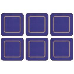 Pack of 6 Blue plain coloured melamine drinks coasters cork backed UK made tabletop protectors