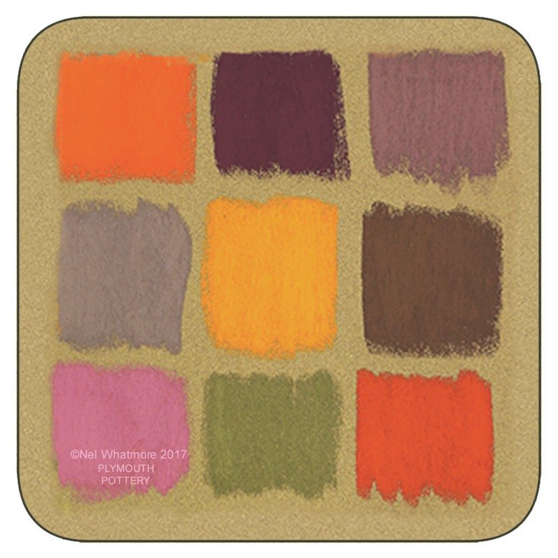 Colourful corkbacked coasters. Harlequin design