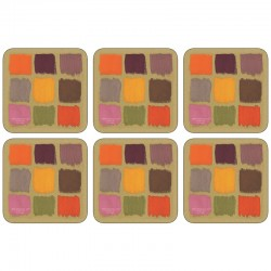 All 6 square Harlequin coasters, corkbacked design by Plymouth
