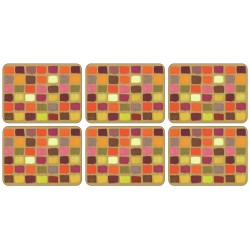 All 6 corkbacked funky Harlequin placemats by Plymouth
