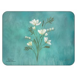 Infinity design, teal blue background, corkbacked floral placemats