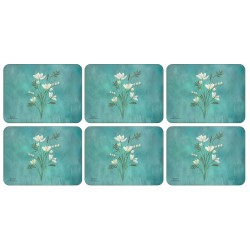 Infinity design, teal blue background, floral corkbacked placemats