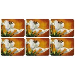 Lily Sunburst orange, corkbacked floral tablemats