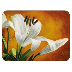 Lily Sunburst orange background, corkbacked floral placemats