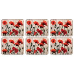 All 6 Red Poppies, beige background, corkbacked floral tablemats