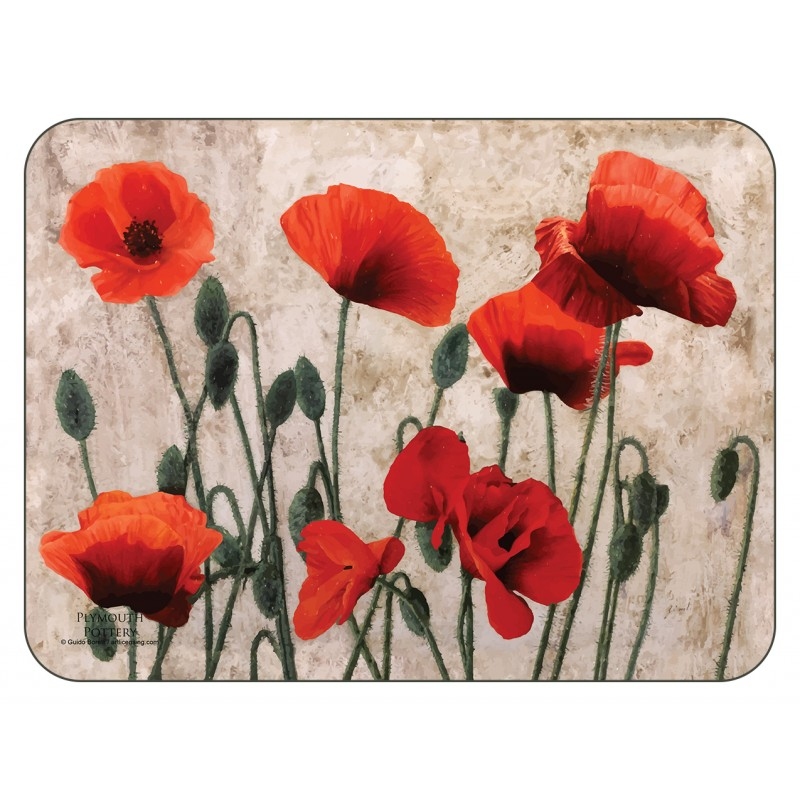 Red Poppies, beige background, corkbacked floral placemats