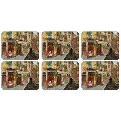 Cafe Scene mediterranean design set of 6 tablemats by Plymouth Pottery