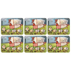 Set of 6 Mother Hen cork backed tablemats