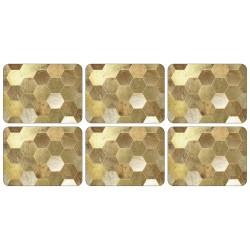 Gold hexagonal blocks Golden Repeat tablemats set of 6