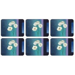 Plymouth Pottery Timeless white flowers set of 6 tablemats