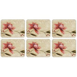Plymouth Pottery Antique Bloom floral cork backed tablemats set of 6