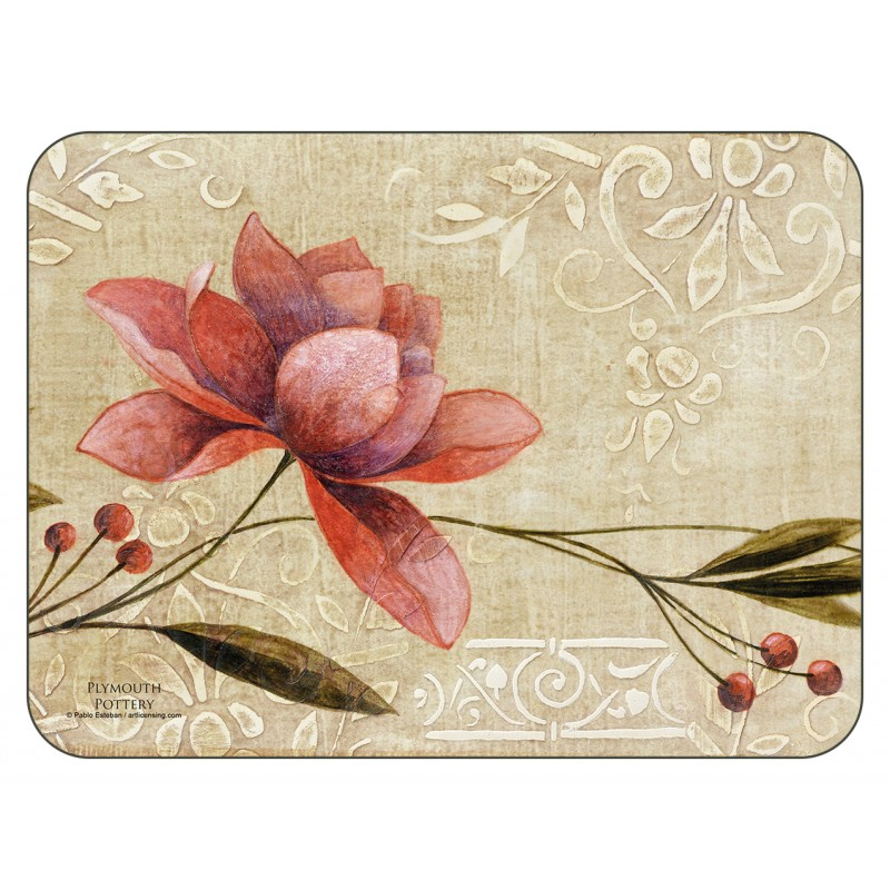 Plymouth Pottery Antique Bloom floral corkbacked tablemats