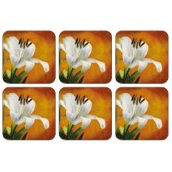 Lily Sunburst design cork backed floral drinks coaster set of 6