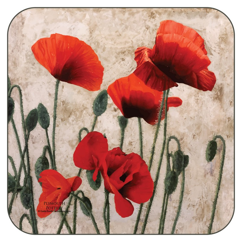Red Poppies design cork backed floral coasters