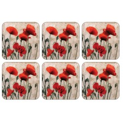 Set of 6 Red Poppies design cork backed floral drinks coasters